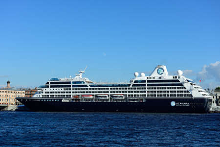 cruise liner: St. Petersburg, Russia - June 27, 2015: Cruise liner Azamara Quest of Azamara Club Cruises moored at English embankment. The ship built in 2012 and can accommodate 686 guests