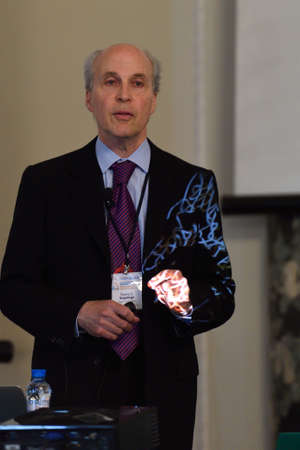 laureates: St. Petersburg, Russia - June 22, 2015: Nobel Prize Laureate in chemistry Roger Kornberg during Saint Petersburg scientific forum Nanostructures: physics and technology. Seven Nobel Prize Laureates meet on the forum this year