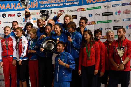 award ceremony: Moscow, Russia - July 19, 2015: Award ceremony of the Beach Tennis World Team Championship. Italy become world champion, Russia won silver, and Spain got bronze Editorial