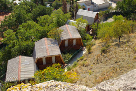 hostel: Cottages of youth hostel in Sudak, Crimea Stock Photo