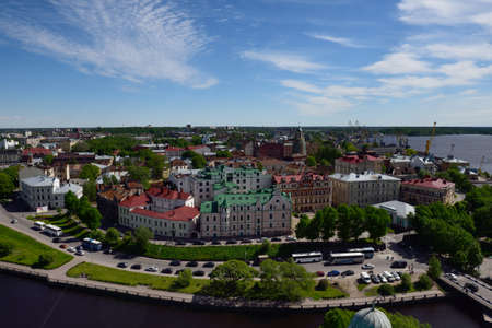 vyborg: Vyborg, Leningrad oblast, Russia - June 6, 2015: Cityscape viewed from the St. Olav tower. Before 1940, Vyborg was the second largest city of Finland