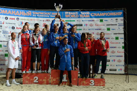 champion of spain: Moscow, Russia - July 19, 2015: Award ceremony of the Beach Tennis World Team Championship. Italy become world champion, Russia won silver, and Spain got bronze Editorial