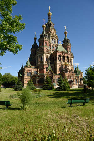 nikolay: Peterhof, St. Petersburg, Russia - June 07, 2015: Saints Peter and Paul Cathedral in a summer day. Built in 1905 by design of Nikolay Sultanov, it is a superb example of Russian Revival architecture