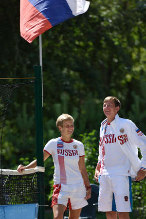 nikolay: Moscow, Russia - July 16, 2015: Daria Churakova left and Nikolay Guryev of Russia during the ITF Beach Tennis World Team Championship. 28 nations compete in the event this year