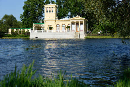 olgas: Peterhof, St. Petersburg, Russia - June 7, 2015: Tsaritsyn pavilion on the Olgas pond in a summer day. The pavilion was built for the Empress Alexandra Feodorovna in 1842-1844