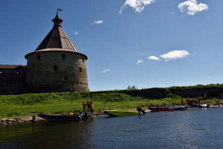 motorboat: Oreshek fortress, Leningrad oblast, Russia - August 15, 2015: Athletes finished the first stage of the River marathon Oreshek Fortress race. This international motorboat competitions is held since 2003 Editorial