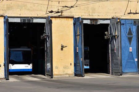 ticketing: St. Petersburg, Russia - August 17, 2015: Trolley bus depot during the demonstration of the new cashless ticketing system supported MasterCard PayPass technology Editorial
