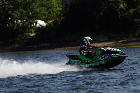 motorboat: St. Petersburg, Russia - August 15, 2015: Unidentified athlete competes in the River marathon Oreshek Fortress race. This international motorboat competitions is held since 2003