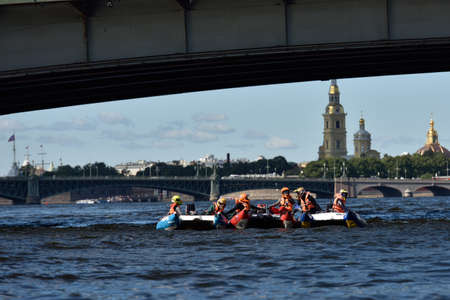 motorboat: St. Petersburg, Russia - August 15, 2015: Unidentified riders on the start of the River marathon Oreshek Fortress race. This international motorboat competitions is held since 2003