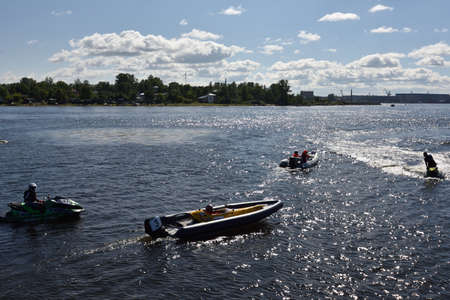 motorboat: Oreshek fortress, Leningrad oblast, Russia - August 15, 2015: Athletes prepare to the second stage of the River marathon Oreshek Fortress race. This international motorboat competitions is held since 2003