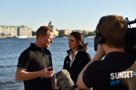 st  pete: St. Petersburg, Russia - August 21, 2015: 2009 Series winning skipper Pete Cumming of United Kingdom talks with press after the 2nd day of St. Petersburg stage of Extreme Sailing Series. Cumming has 7 years of Extreme 40 experience