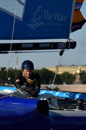medalist: St. Petersburg, Russia - August 20, 2015: Two-time British Olympic gold medalist Sarah Ayton in The Wave, Muscat sailing team of Oman during the 1st day of St. Petersburg stage of Extreme Sailing Series
