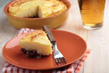 british cuisine: Portion of cottage pie on a plate Stock Photo