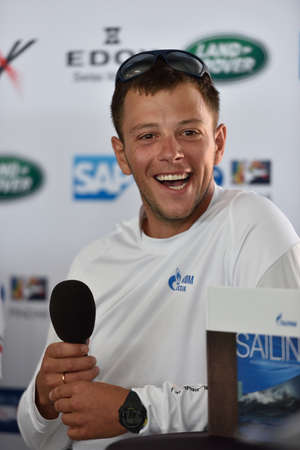 igor: St. Petersburg, Russia - August 20, 2015: Igor Lisovenko, skipper of Gazprom Team of Russia on the press conference during the 1st day of St. Petersburg stage of Extreme Sailing Series. Red Bull Sailing Team of Austria won the day with 58 points