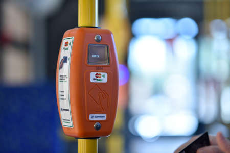 mastercard: St. Petersburg, Russia - August 17, 2015: Ticket vending machine supporting the MasterCard PayPass technology. The upgraded cashless ticketing system was demonstrated to media representatives in 3rd trolleybus depot Editorial