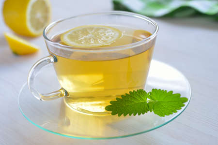 tea hot drink: Cup of tea with lemon and mint closeup Stock Photo