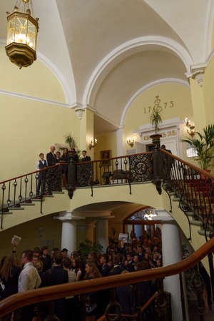 higher education: St. Petersburg, Russia - September 1, 2015: Students in the main building of the National Mineral Resources University during the Day of Knowledge. Its the oldest Russian higher education school devoted to engineering