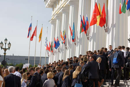 higher education: St. Petersburg, Russia - September 1, 2015: Students on the meeting dedicated to the Day of Knowledge in the National Mineral Resources University. Its the oldest Russian higher education school devoted to engineering
