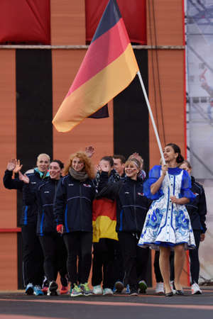 fire team: St. Petersburg, Russia - September 7, 2015: Team Germany during opening ceremony of the XI World Championship in Fire and Rescue Sport. First World Championship was held in 2002 Editorial