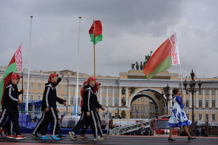 world championship: St. Petersburg, Russia - September 7, 2015: Team Belarus during opening ceremony of the XI World Championship in Fire and Rescue Sport. First World Championship was held in 2002