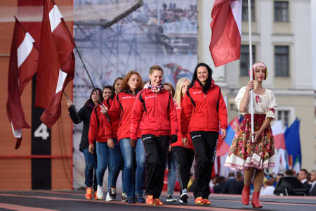 latvia girls: St. Petersburg, Russia - September 7, 2015: Team Latvia during opening ceremony of the XI World Championship in Fire and Rescue Sport. First World Championship was held in 2002 Editorial