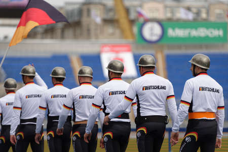 world championship: St. Petersburg, Russia - September 9, 2015: Team Germany before competitions in combat deployment during the XI World Championship in Fire and Rescue Sport. First World Championship was held in 2002