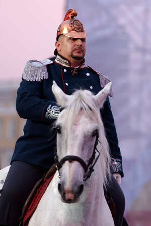 world championship: St. Petersburg, Russia - September 7, 2015: Actor in historic costume during the opening ceremony of the XI World Championship in Fire and Rescue Sport. First World Championship was held in 2002