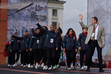 world championship: St. Petersburg, Russia - September 7, 2015: Team Turkey during opening ceremony of the XI World Championship in Fire and Rescue Sport. First World Championship was held in 2002 Editorial