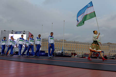 fire team: St. Petersburg, Russia - September 7, 2015: Team Uzbekistan during opening ceremony of the XI World Championship in Fire and Rescue Sport. First World Championship was held in 2002