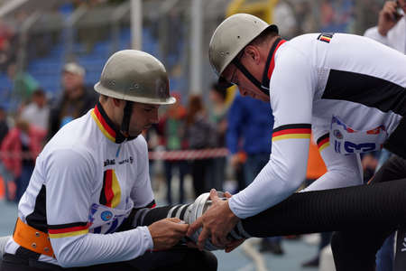 world championship: St. Petersburg, Russia - September 9, 2015: Team Germany prepare for competitions in combat deployment during the XI World Championship in Fire and Rescue Sport. First World Championship was held in 2002