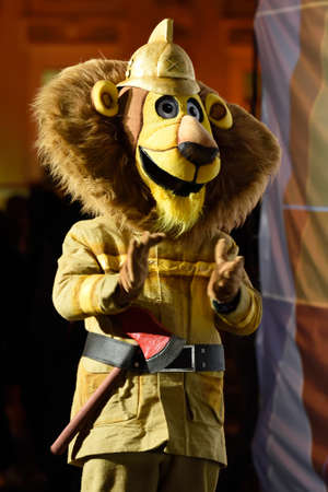 world championship: St. Petersburg, Russia - September 7, 2015: Mascot of the XI World Championship in Fire and Rescue Sport during the opening ceremony. First World Championship was held in 2002 Editorial