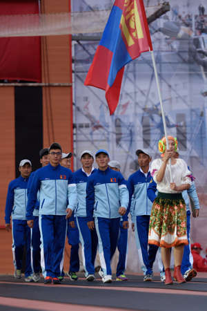 world championship: St. Petersburg, Russia - September 7, 2015: Team Mongolia during opening ceremony of the XI World Championship in Fire and Rescue Sport. First World Championship was held in 2002