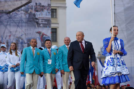world championship: St. Petersburg, Russia - September 7, 2015: Team Kazakhstan during opening ceremony of the XI World Championship in Fire and Rescue Sport. First World Championship was held in 2002