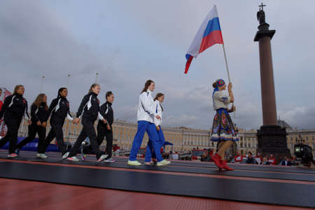 fire team: St. Petersburg, Russia - September 7, 2015: Team Russia-2 during opening ceremony of the XI World Championship in Fire and Rescue Sport. First World Championship was held in 2002