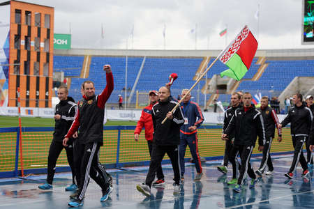 fire team: St. Petersburg, Russia - September 9, 2015: Team Belarus after last competitions of XI World Championship in Fire and Rescue Sport. First World Championship was held in 2002