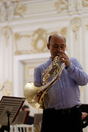 virtuoso: St. Petersburg, Russia - September 7, 2015: Javier Bonet on the rehearsal during the International festival of French horn. The hornfest is held 3rd time Editorial