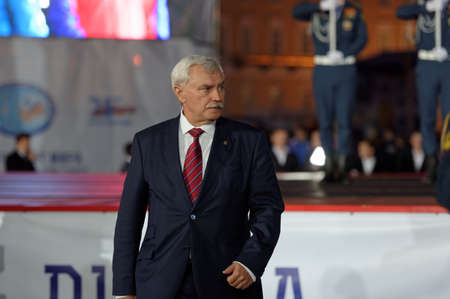 world championship: St. Petersburg, Russia - September 7, 2015: Governor of St. Petersburg Georgy Poltavchenko at the opening ceremony of the XI World Championship in Fire and Rescue Sport Editorial