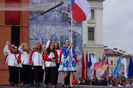world championship: St. Petersburg, Russia - September 7, 2015: Team Czech Republic during opening ceremony of the XI World Championship in Fire and Rescue Sport. First World Championship was held in 2002