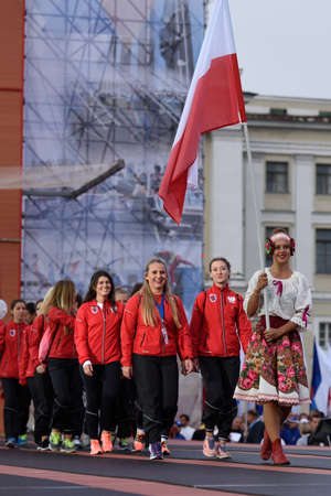 world championship: St. Petersburg, Russia - September 7, 2015: Team Poland during opening ceremony of the XI World Championship in Fire and Rescue Sport. First World Championship was held in 2002 Editorial