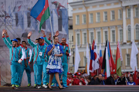world championship: St. Petersburg, Russia - September 7, 2015: Team Azerbaijan during opening ceremony of the XI World Championship in Fire and Rescue Sport. First World Championship was held in 2002
