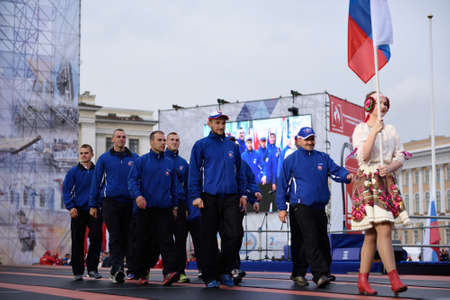 world championship: St. Petersburg, Russia - September 7, 2015: Team Russia during opening ceremony of the XI World Championship in Fire and Rescue Sport. First World Championship was held in 2002
