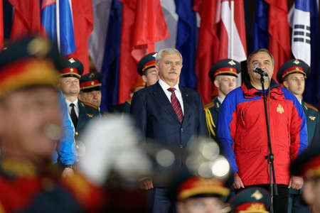 governor: St. Petersburg, Russia - September 7, 2015: Governor of St. Petersburg Georgy Poltavchenko center and minister of EMERCOM of Russia Vladimir Puchkov at the opening ceremony of the XI World Championship in Fire and Rescue Sport Editorial