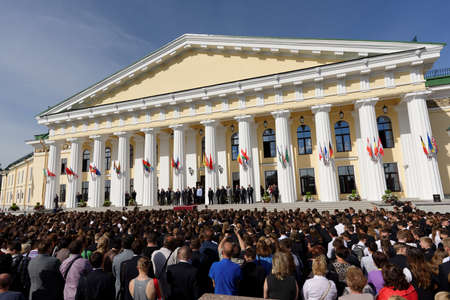higher education: St. Petersburg, Russia - September 1, 2015: Celebrations of the Day of Knowledge in the National Mineral Resources University. Its the oldest Russian higher education school devoted to engineering