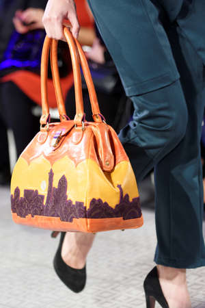 showroom: St. Petersburg, Russia - September 14, 2015: Bag exposed at the fashion show of the project Showroom 35. The project provides a unique free area for young St. Petersburg designers to expose their fashion collections Editorial
