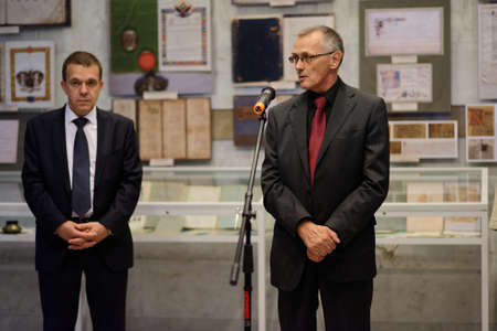 delivers: St. Petersburg, Russia - September 18, 2015: Director of Institure of History Nikolay Smirnov delivers opening remarks in the exhibition Book And Manuscript Collection Of Academician N. P. Likhachev