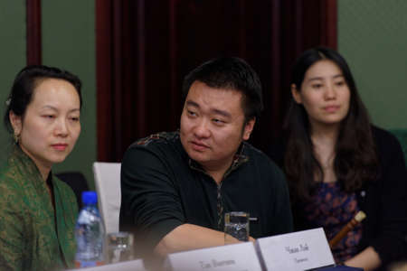 lei: St. Petersburg, Russia - September 14, 2015: Producer Zhang Lei during the press conference with womens chamber orchestra Beauty and Melody of Sichuan province. The event is part of the Festival of Chinese music