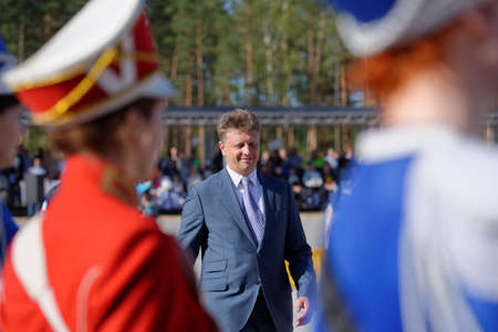 russian federation: Novopriozersk highway, Leningrad oblast, Russia - September 11, 2015: Minister of transport of Russian Federation Maksim Sokolov during the opening ceremony of Russian professional skills championship of road workers Editorial
