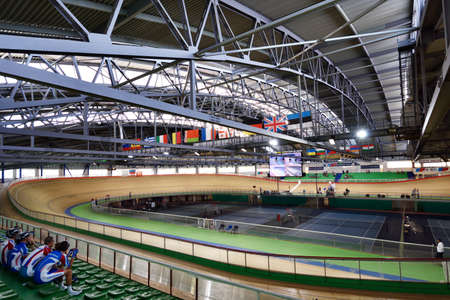 helmet seat: St. Petersburg, Russia - August 11, 2015: Start of team race during Russian track cycling championship. Velodrome Lokosphinx hosts the competitions