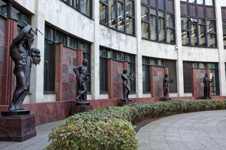 St. Petersburg, Russia - September 17, 2015: Sculptures in front of the new building of the National Library of Russia. Founded in 1795, now the library houses about 36 millions items