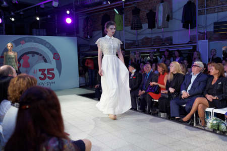 showroom: St. Petersburg, Russia - September 14, 2015: Fashion show at the opening of the project Showroom 35. The project provides a unique free area for young St. Petersburg designers to expose their fashion collections Editorial